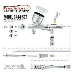 0.2 0.3 0.5 Fine Detail Dual-Action Gravity Airbrush Kit 4 Piston Air Compressor