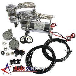 12V Dual Chrome 440C 200 PSI Air Compressor Kit For Train Horns Bag Suspension