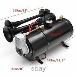 150DB 4 Trumpet Train Horn Kit with 170 PSI Air Compressor for Car Truck Quad
