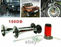 150DB Super Loud 12V Air Horn Dual Trumpet Compressor Kit Train Truck Car Boat