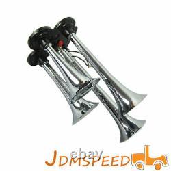 150 PSI 3 Liter Air Compressor with Chrome Four Trumpet Compact Train Air Horn