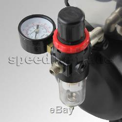 220V OPHIR Cylinder-shape 1/6HP 0-4Bar Air Compressor Kit+0.3 Airbrush for Model
