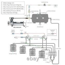 3/8 NPT 200Psi 480c Single Control Air Bag Suspension Compressor Pump Ride Kit