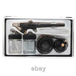 3 Airbrush Compressor Kit Dual Action Spray Air Brush Tattoo Nail Tool 1/5 HP