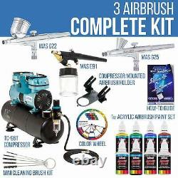 3 Master Airbrush 1/4hp Twin-Piston Air Compressor, 6 Color Acrylic Paint Set