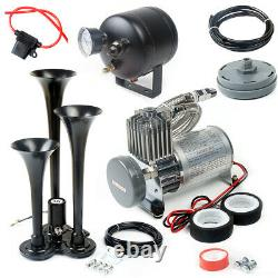 3 Trumpet Train Horn Kit with 150 PSI Air Compressor for Car Truck Train HOT