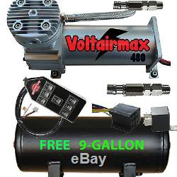 480C Air Compressor Ride Kit 200psi rated FREE 9 Gl Black Tank/7-Switch Cont