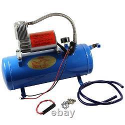 4 Trumpet 150DB Truck Train Air Horn Kit With Chrome 6 Liters Air Compressor New