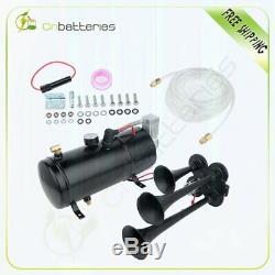 4 Trumpet 150 psi Air System 150dB + Metal 12V Train Air Horn Kit For Car Truck