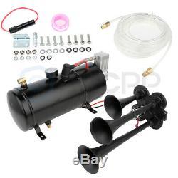 4 Trumpet 150dB 12V Train Air Horn 150 psi Air Compressor Kit For Truck Boat