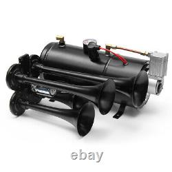 4 Trumpet Air Horn 170 PSI Air Compressor Tubing 12V 150dB Train Kit Truck Boat