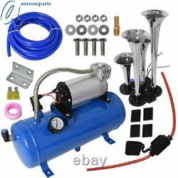 4 Trumpet Air Horn Kit Tank Gauge for Car Train Truck 12V Compressor Blue