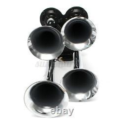 4 Trumpet Car Truck Air Horn 12V Compressor Tubing 150 dB Train 180 PSI Kit