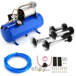4 Trumpet Train Air Horn 12V Compressor and Kit Set for Vehicle Trucks Car DR