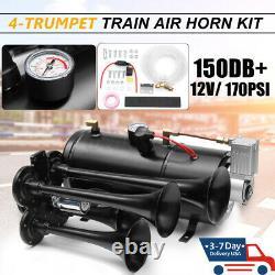 4 Trumpet Train Air Horn Kit 12V 170PSI 3 Liters 150dB Compressor Car Truck Boat