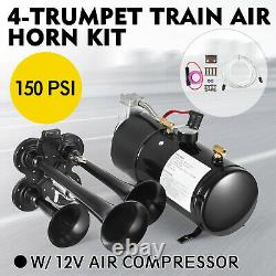 4 Trumpet Train Air Horn Kit with 12V 150 PSI Air Compressor for Car Truck Train