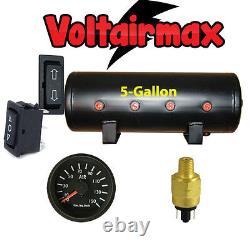 5 Gal Air Tank 8 Port Air Ride Suspension Compressor System Gauge Press Switch