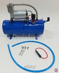 63 Cm 12v Super Loud 150db Trumpet Air Horn Kit With 6 Liters 150 Psi Compressor