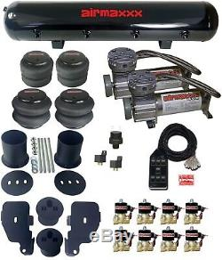 65-70 Impala Air Suspension Kit with 1/2 Valves Black 7 Switch Pewter Compressors