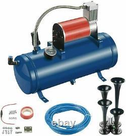 6L 150PSI with 4 Trumpet Air Horn 12V Compressor Kit Tank Gauge for Car Train Boat