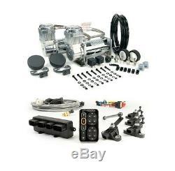 Accuair E-Level Kit + Viair 400C Dual CHROME Compressors Air Ride Bags