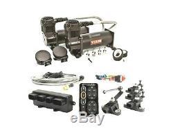 Accuair E-Level Kit + Viair 444C Dual Stealth Black Compressors Air Ride Bags
