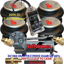 AirRide Compressor DC480 Air Bag Suspension 4-2600 Air Springs kits Fitting1/2