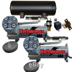 Air Bag Suspension Compressors & 5 Gallon Tank Air Maximum 480 Pewter 200psi Kit