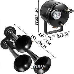 Air Horn Truck Train Horns Kit 12 Volt with 2L Air Compressor 3 Trumpet 135db