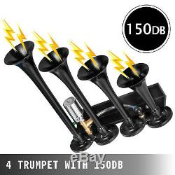 Air Horn Truck Train Horns Kit 12 Volt with 6L Air Compressor 4 Trumpet 150db