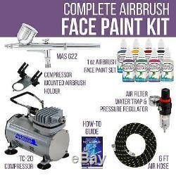 Airbrush Face Paint Kit 8 Custom Body Art Colors Air Compressor Tattoo Stencil