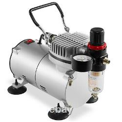 Airbrush Kit with 3 Airbrushes Gravity Siphon Feed Air Compressor 6 Color Set