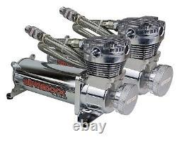 Airmaxxx chrome dual 480 air compressors & 5 gallon brushed aluminum air tank