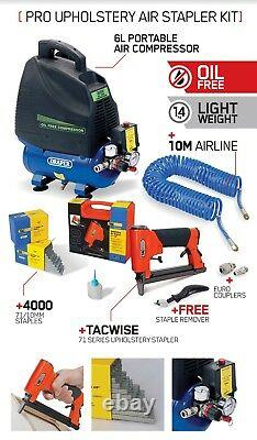 BURISCH Upholstery Air Stapler Kit Tacwise A7116V Air Compressor 10m Airline