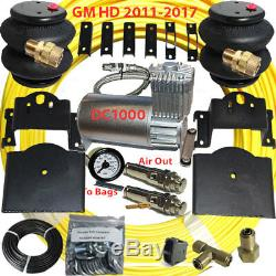 B Towing Air Bag Kit Bolt On 2011-2017 Chevy 2500 3500 P-Button DC100 Compressor