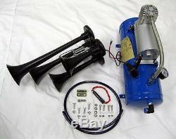 Black 12V 150 DB Quad Trumpet Train Air Horn Kit + 120 PSI Blue Air Compressor