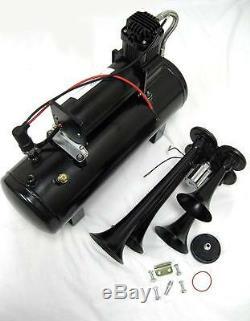 Black 12V 150 DB Quad Trumpet Train Air Horn Kit + 150 PSI Black Air Compressor