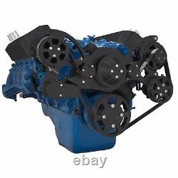 Black Big Block Ford Serpentine Pulley Kit 429 460 BBF AC A/C Air Conditioning