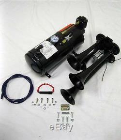 Black Quad 4 Trumpet Train Air Horn Kit + 150PSI Compressor 12v Semi Boat 150dB