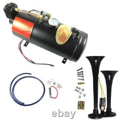 Black Train Horn Kit Loud 2 Trumpet with 120 PSI Air Compressor Complete System