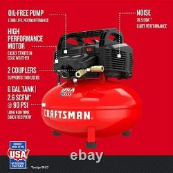CRAFTSMAN Air Compressor, 6 gallon, Pancake, Oil-Free with 13 Piece Accessory Kit