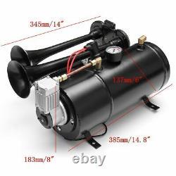 Car Truck Train Quad 4 Trumpet Air Horn Kit 170PSI 150dB 12V Compressor Kit