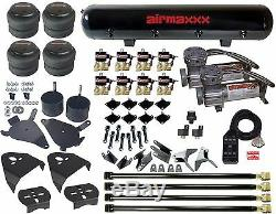 Chevy S10 Air Kit Pewter Air Compressors 2500 Bags 1/2npt Valves Blk AVS 7 Box