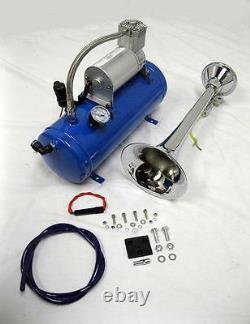 Chrome Metal 150 DB Single Trumpet LOUD Train Air Horn Kit 17 w Blue Compressor