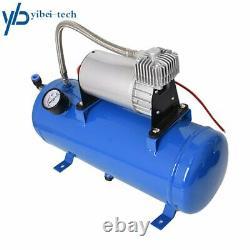 Compressor Blue 4 Trumpet Air Horn Kit Tank Gauge for Car Train Truck 12V