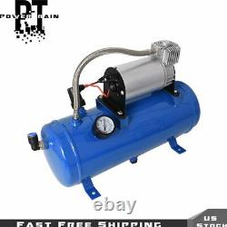 For Car Train Truck 4 Trumpet Air Horn 12V Compressor Kit Blue Tank Gauge