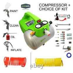 Greenworks Electric Compact Air Compressor 6L 240V 4600RPM + Accessory/Tool Kit