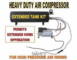 Heavy Duty TRAIN HORN Air Compressor and EXTENDED Tank Kit
