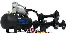 HornBlasters Bandit 127H Loud Train Air Horn Set Kit with VIAIR 444C Compressor