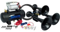 HornBlasters Outlaw Black 127H Loud Train Air Horn Kit for Truck with Compressor
